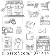 Clipart Of A Black And White Sketched Online Shop Sale Tag Tablet Pc And Buy Button Money Credit Card Shopping Cart Basket And Bag Store Wallet Cash Register Gift And Delivery Box Royalty Free Vector Illustration