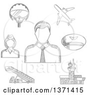 Clipart Of A Black And White Sketched Pilot In Uniform Surrounded By Stewardess Airplane Flight Helmet Peaked Cap Airport Building And Aircraft Steps Royalty Free Vector Illustration by Vector Tradition SM