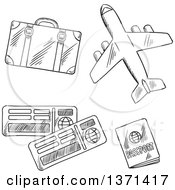 Black And White Sketched Airplane And Travel Items