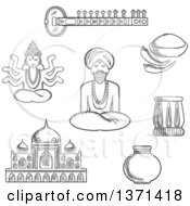 Clipart Of A Black And White Sketched Sitar Fresh Chili Pepper And Chili Powder Tabla Drum Vase Ancient Temple God Vishnu Bearded Man In Turban In Lotus Pose Royalty Free Vector Illustration