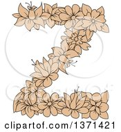 Clipart Of A Tan Floral Alphabet Letter Z Royalty Free Vector Illustration by Vector Tradition SM