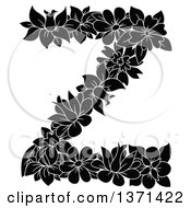 Black And White Floral Alphabet Letter Z