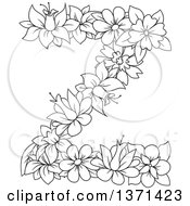 Black And White Lineart Floral Alphabet Letter Z