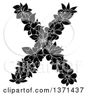 Black And White Floral Alphabet Letter X