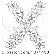 Black And White Lineart Floral Alphabet Letter X