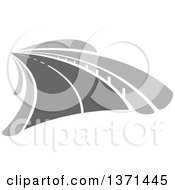 Clipart Of A Grayscale Highway Road Royalty Free Vector Illustration