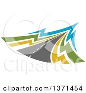 Clipart Of A Highway Road Royalty Free Vector Illustration