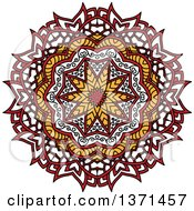 Clipart Of A White Yellow And Red Kaleidoscope Flower Royalty Free Vector Illustration