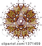 Clipart Of A White Yellow And Red Kaleidoscope Flower Royalty Free Vector Illustration by Seamartini Graphics