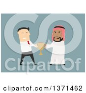 Clipart Of Flat Design White Business And Arabian Men Fighting Over A Trophy On Blue Royalty Free Vector Illustration