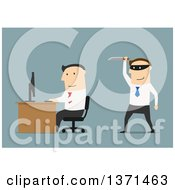 Clipart Of A Flat Design White Business Man Ready To Stab Someone In The Back On Blue Royalty Free Vector Illustration