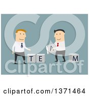 Clipart Of Flat Design White Business Men Putting Together Team Blocks On Blue Royalty Free Vector Illustration
