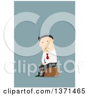 Clipart Of A Flat Design Sad White Business Man Sitting On A Suitcase On Blue Royalty Free Vector Illustration