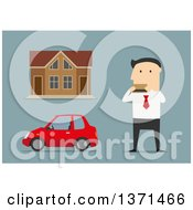 Clipart Of A Flat Design White Business Man Purchasing A House And Car On Blue Royalty Free Vector Illustration by Vector Tradition SM