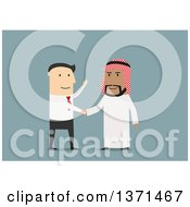 Clipart Of A Flat Design White Business Man Shaking Hands With An Arabian Man On Blue Royalty Free Vector Illustration