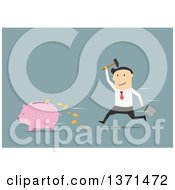 Clipart Of A Flat Design White Business Man Chasing A Piggy Bank On Blue Royalty Free Vector Illustration