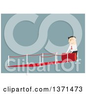 Clipart Of A Flat Design White Business Man Rolling Out A Red Carpet On Blue Royalty Free Vector Illustration