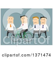Clipart Of A Flat Design White Business Man Riding A Bike Around Others On Blue Royalty Free Vector Illustration by Vector Tradition SM