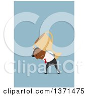 Clipart Of A Flat Design Black Business Man Carrying A Heavy Trophy On Blue Royalty Free Vector Illustration