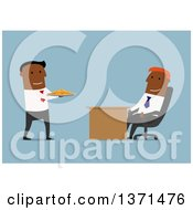 Clipart Of A Flat Design Team Of Black Business Men With A Plate Of Coins On Blue Royalty Free Vector Illustration by Vector Tradition SM