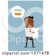 Clipart Of A Flat Design Black Business Man Thinking Of Money And Reading A Letter On Blue Royalty Free Vector Illustration