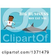 Flat Design Black Business Man Being Chased By A Shark With Big Business May Eat You On Blue