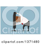 Clipart Of A Flat Design Black Business Man Sticking His Head In A Tv On Blue Royalty Free Vector Illustration