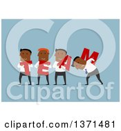 Clipart Of A Flat Design Team Of Black Business Men With Letters On Blue Royalty Free Vector Illustration