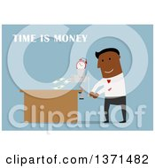 Clipart Of A Flat Design Black Business Man With Time Is Money Text And A Grinder On Blue Royalty Free Vector Illustration