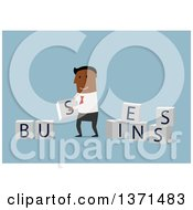 Clipart Of A Flat Design Black Business Man Laying Out Blocks On Blue Royalty Free Vector Illustration