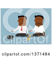 Clipart Of A Flat Design Black Business Man Going From Riches To Rags On Blue Royalty Free Vector Illustration