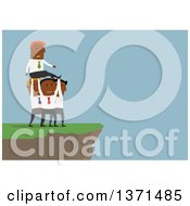 Clipart Of A Flat Design Team Of Black Business Men Carrying Another To A Cliff On Blue Royalty Free Vector Illustration