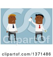 Clipart Of A Flat Design Team Of Black Business Men One Upset One Holding Cash On Blue Royalty Free Vector Illustration