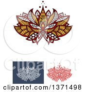 Clipart Of Henna Lotus Flowers Royalty Free Vector Illustration