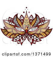 Clipart Of A White Black Red And Yellow Henna Lotus Flower Royalty Free Vector Illustration