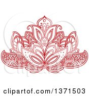 Clipart Of A Red Henna Lotus Flower Royalty Free Vector Illustration by Vector Tradition SM