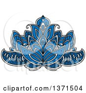 Clipart Of A Blue White And Black Henna Lotus Flower Royalty Free Vector Illustration by Vector Tradition SM
