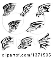 Clipart Of Black And White Tribal Angel Or Bird Wings Royalty Free Vector Illustration by Vector Tradition SM
