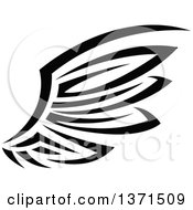 Clipart Of A Black And White Tribal Angel Or Bird Wing Royalty Free Vector Illustration by Vector Tradition SM