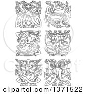 Black And White Lineart Celtic Dragon Knot Designs