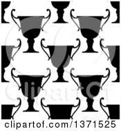 Clipart Of A Seamless Background Pattern Of Black And White Silhouetted Urns Or Trophies Royalty Free Vector Illustration