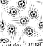 Seamless Pattern Background Of Black And White Flying Soccer Balls