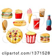Clipart Of Cartoon Fast Foods Royalty Free Vector Illustration