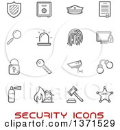 Poster, Art Print Of Black And White Security Icons Over Text