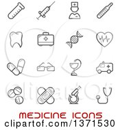Clipart Of Black And White Medicine Icons Over Text Royalty Free Vector Illustration by Vector Tradition SM