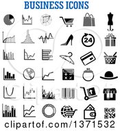 Clipart Of Black And White Business Icons Over Text Royalty Free Vector Illustration