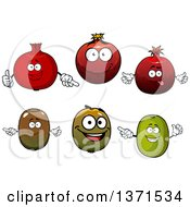 Clipart Of Happy Kiwi And Pomegranate Fruits Royalty Free Vector Illustration