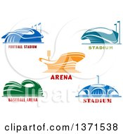 Clipart Of Sports Stadium Arena Buildings With Text Royalty Free Vector Illustration