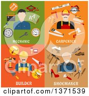 Clipart Of A Mechanic Carpenter Builder And Shoemaker With Tools And Text Royalty Free Vector Illustration by Vector Tradition SM