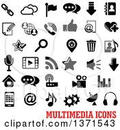 Black And White Multimedia Icons Over Text